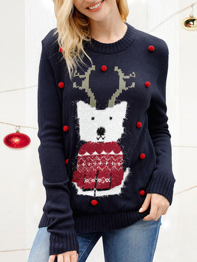 Women Print Christmas Costume Knitted Sweater