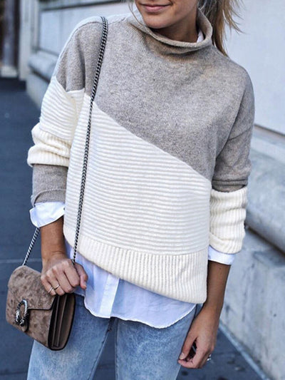 Casual Stripe Contrast Color Turtleneck Sweater