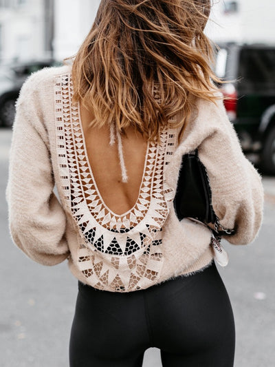 Solid Lace Open Back Sweater