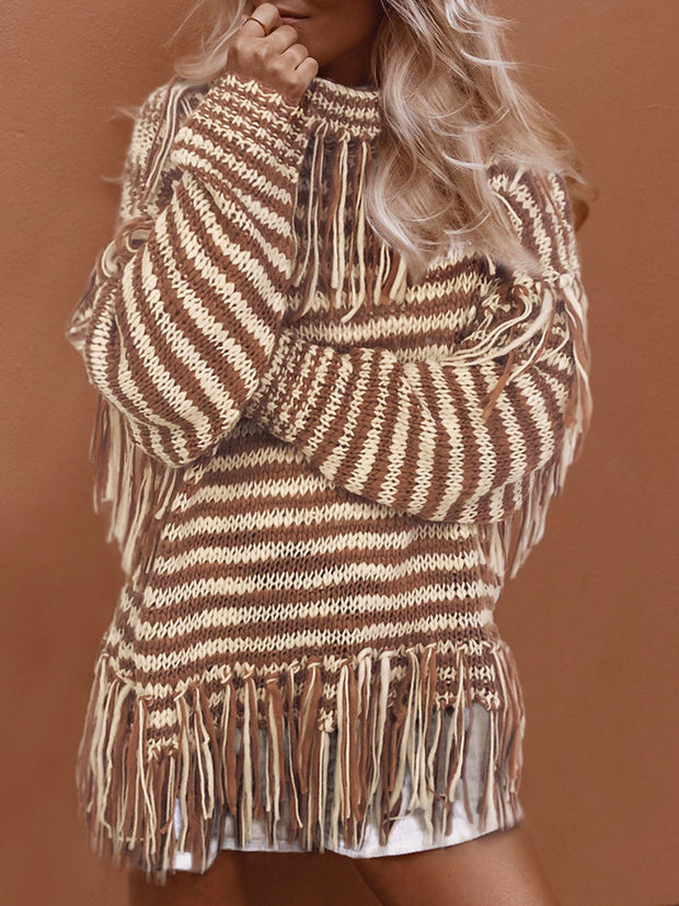 Women's Loose High Collar Fringed Knit Sweater