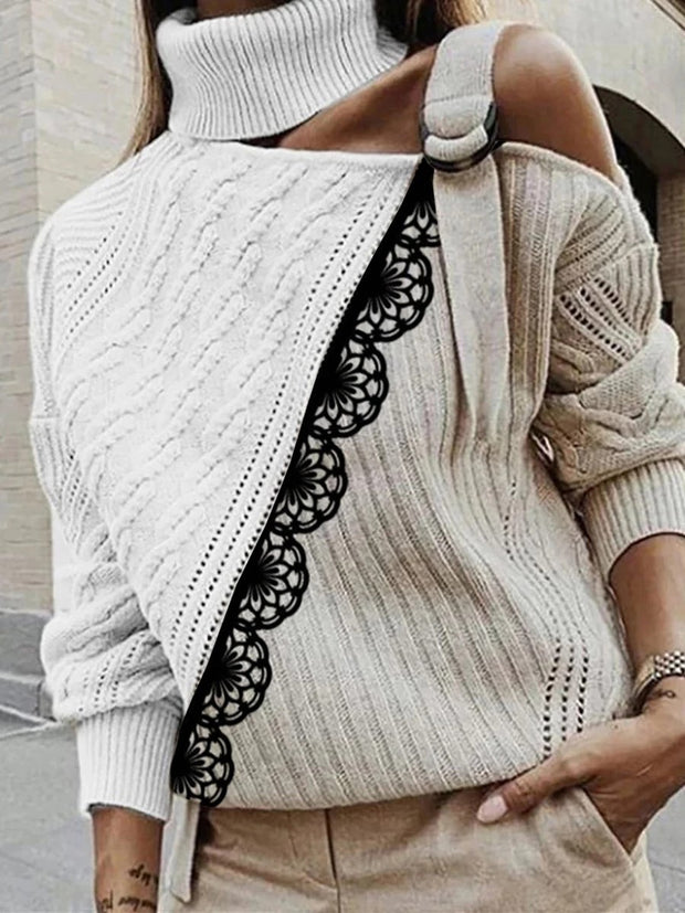Sexy Off-The-Shoulder Long Sleeve Colorblock Sweater