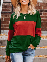 Fashion Casual Stitching Color Matching Sweatshirts