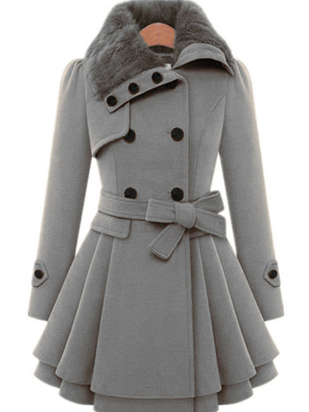 Women Elegant Solid Color Outerwear Belt Coat