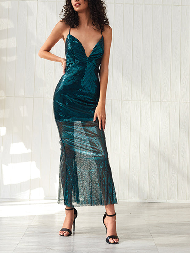 Deep V Open Back Straps Tight Maxi Dress