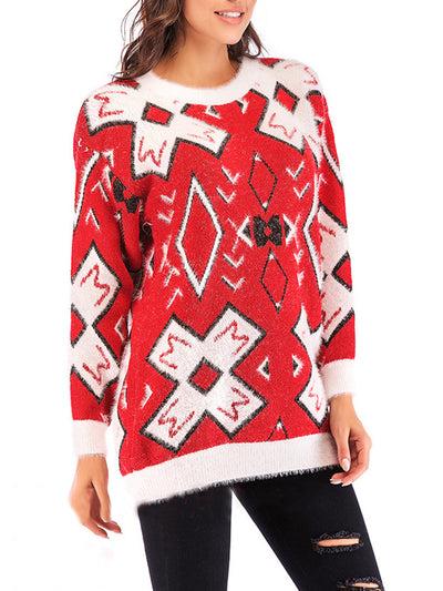 Women's Loose Red Christmas Bottoming Sweaters