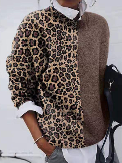 Color-block Leopard Casual Knit Sweater