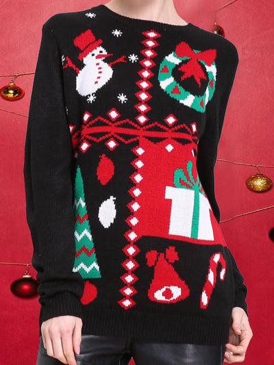 Round Neck Loose Long Sleeve Fawn Chrismas Sweater