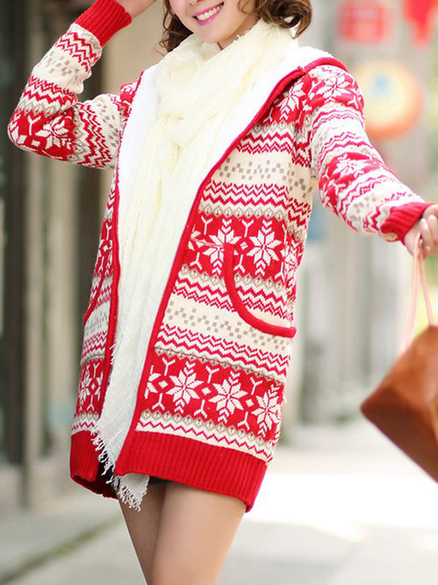 Casual Snowflake Outerwear Front Zip Knitted Coat