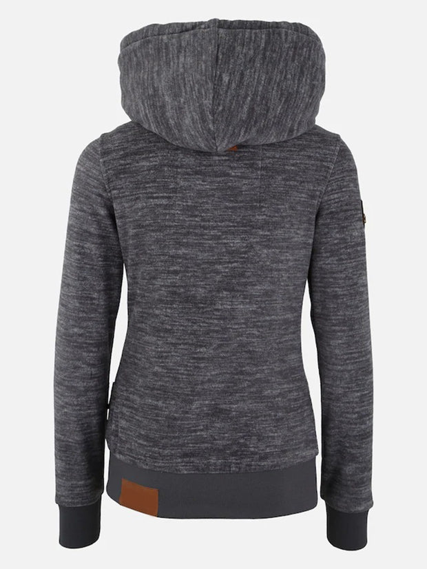 Shawl Collar Long Sleeve Drawstring Spliced Solid Color Hoodie