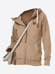 Hood With Drawstring Zipper Kangaroo Pocket Solid Colors Hoodie