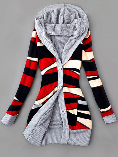 Casual Stripe Outerwear Buttoned Knitted Coat