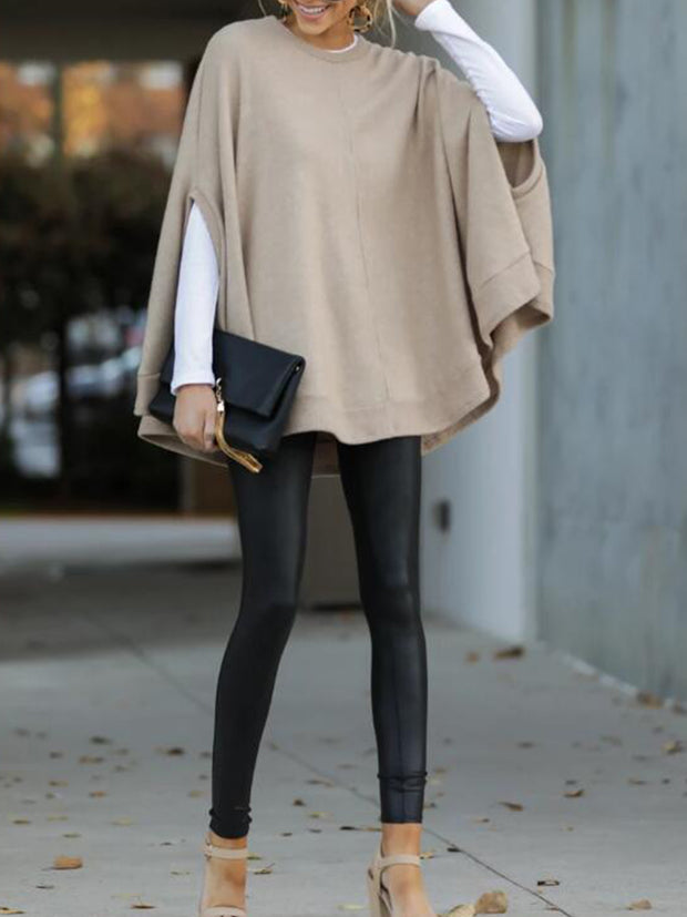 Casual Solid Color Cotton-blend Loose Sweater