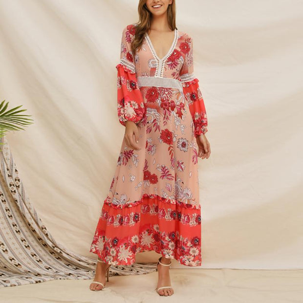 Court Style Bohemia Printed Vacation Maxi Dress