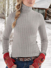 Simple Ladies Stand Collar Solid Stripe Color Sweater