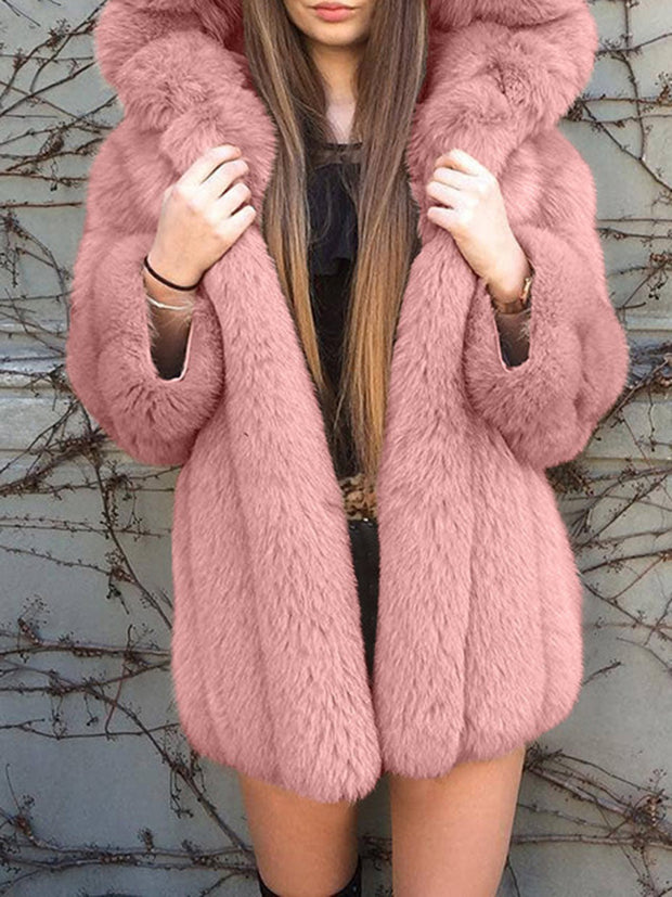Lady Style Winter Hooded Solid Thick Warm Coat
