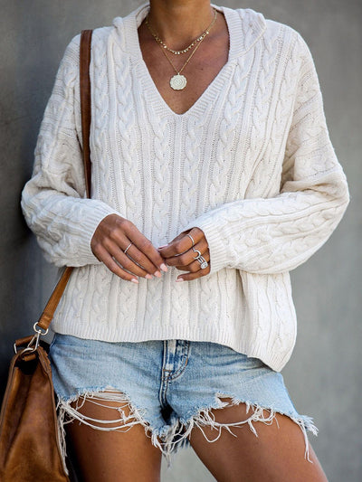 Sexy V Neck Long Sleeve Loose Splice Hollow Sweater