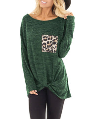 Leopard Print Knotted Pocket Top T-Shirt