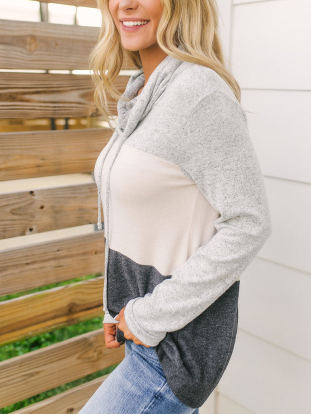 Soft Brushed Cowl Neck Colorblock Hoodie