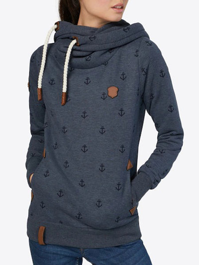 Hood Drawstring Shawl Collar All-over Pattern Splice Hoodie