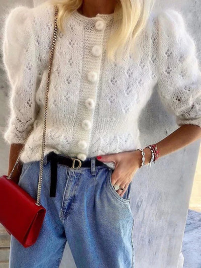 Puff Sleeve Women White Knit Sweater