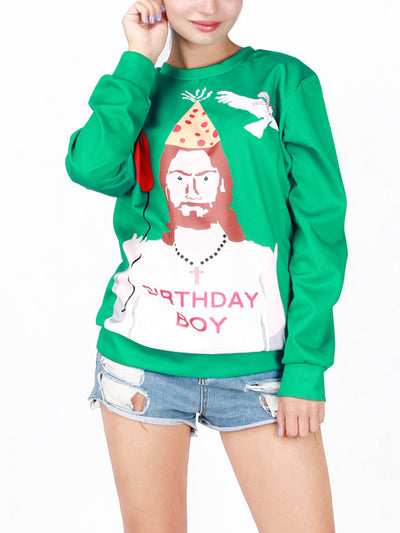 Christmas Costume Cartoon Print Pullover
