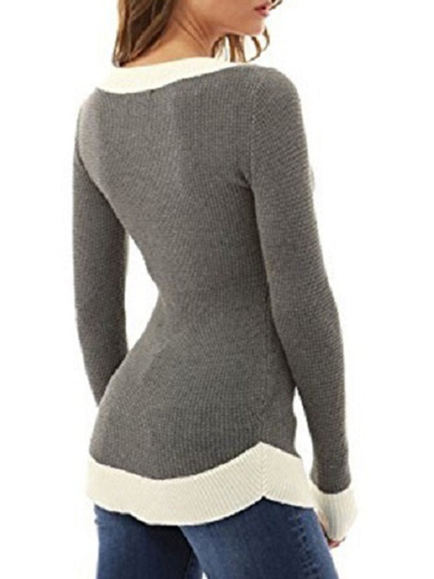 Splicing Color Long Sleeve V-neck Sweater