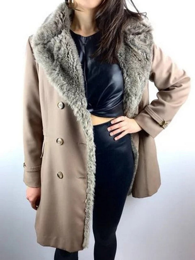 Women Winter Lapel Faux Fur Coat