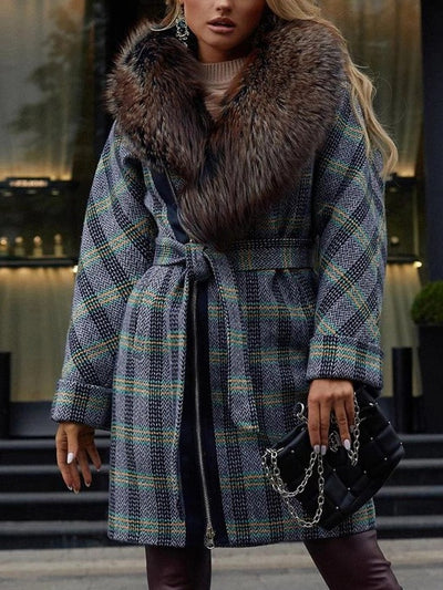 Fashion Elegant Plaid Print Warm Hooded Coat