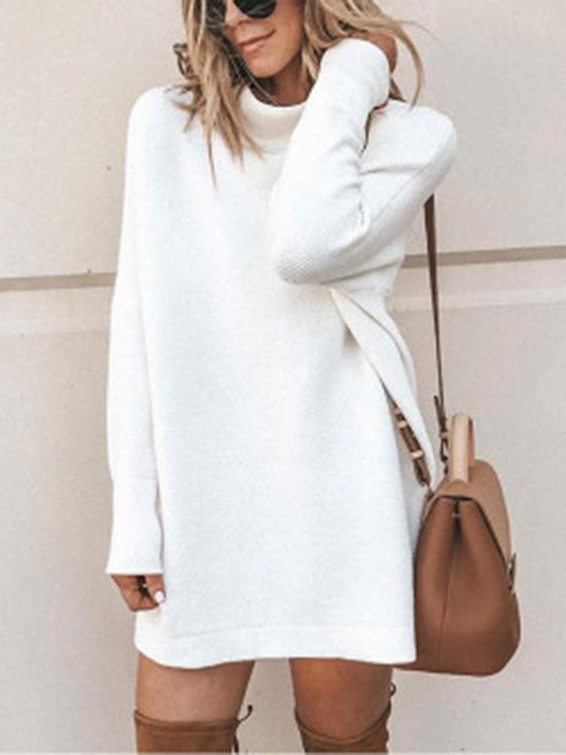 Slim-fit Round Neck Long Sweater Long-sleeved Knit Mini Dress