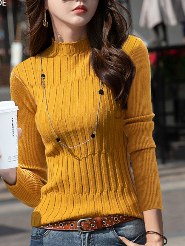 Casual Plain Long Sleeve Knitted Sweater