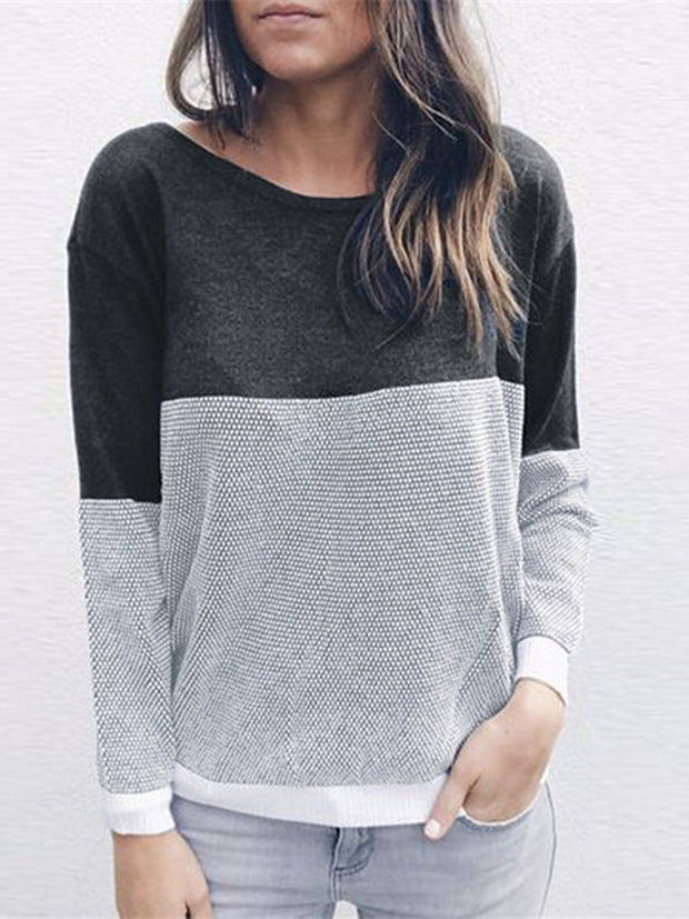Contrast Color Cotton Backless Sweater
