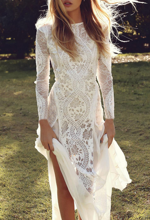Long Sleeve Backless Lace dress