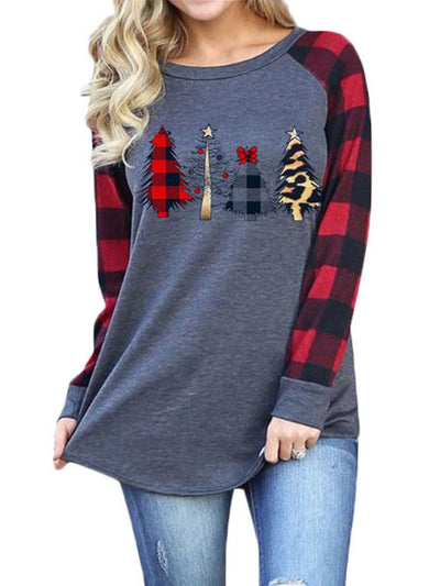 Christmas Print Plaid Patchwork Long Sleeve Pullover