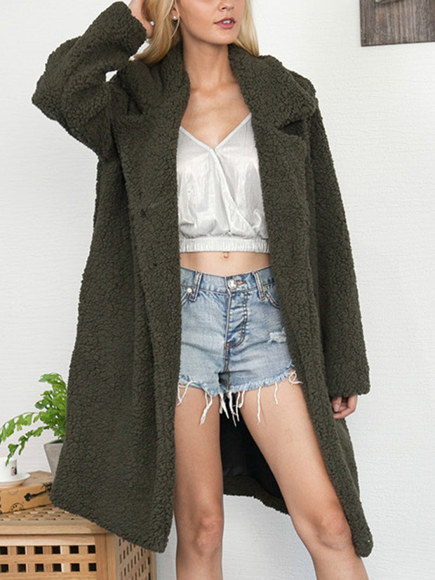 Solid Color Faux Fur Long Teddy Coat