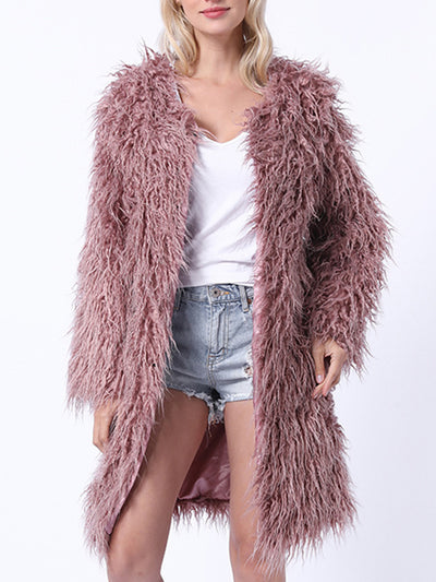 Casual Solid Color Silky Faux Fur Coats