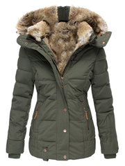 Casual Women's Fur Collar Slim Solid Color Coats