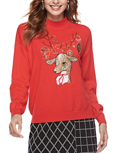 Casual Knitted Sweater Elk Print Sequin Design