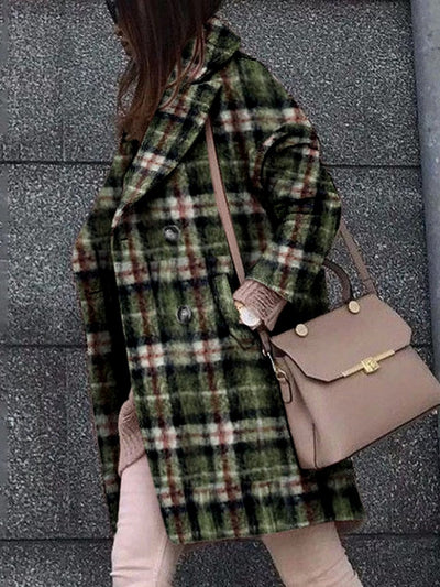 Green Plaid Single Breasted Warm Coat