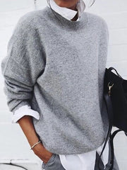 Fashion Round Neck Pure Color Loose Sweater