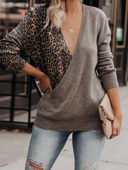 Fashion V-neck Splicing Leopard Print Sweater
