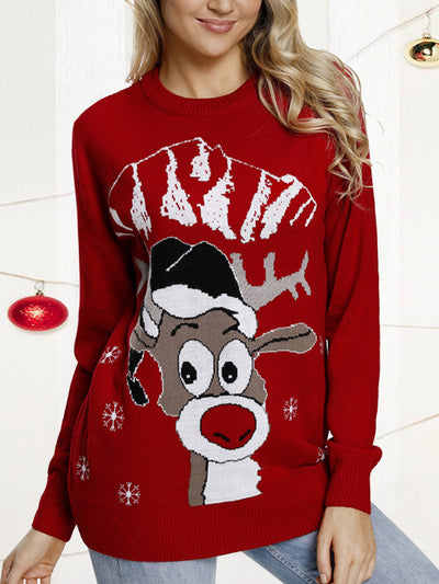 Casual Round Neck Elk Pattern Knit Sweaters