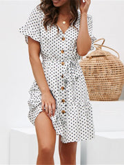 Polka Dot Print Butterfly Sleeve A-line Silhouette Button Mini Dress