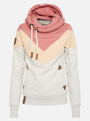Wide Waistband Hood Ribbon Side Pockets Patches Hoodie