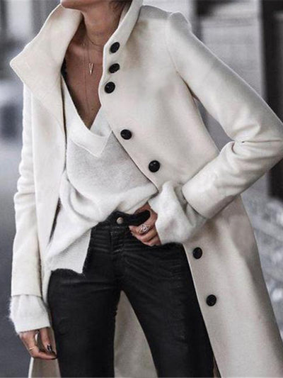 Solid Color Button Long Wool Trench Coats