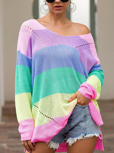 3 Colors Long Sleeve Color Block Side Slit Sweater