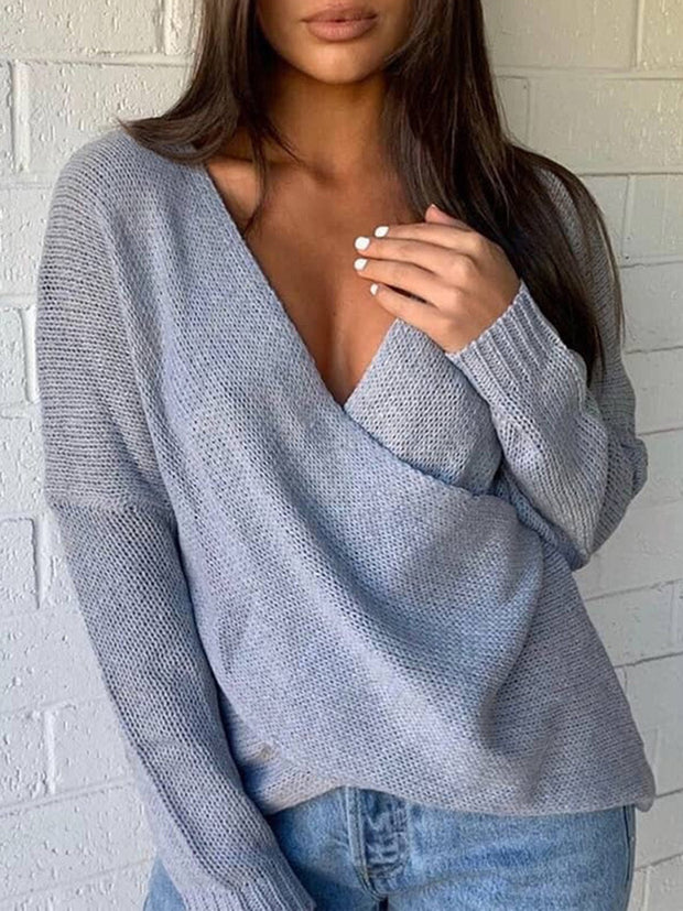Sexy Cross V-neck Bat Sleeve Knit Sweater
