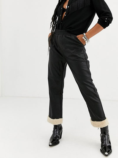 Faux Leather Pants with Shearling Cuffs