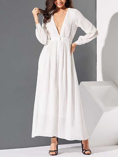 Deep V-Neck Long Sleeve Beach Dress Holiday Maxi Dress