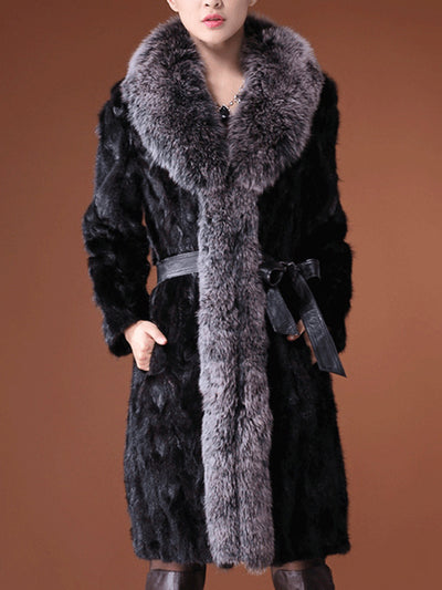 Black Fur Collar Long Winter Coat
