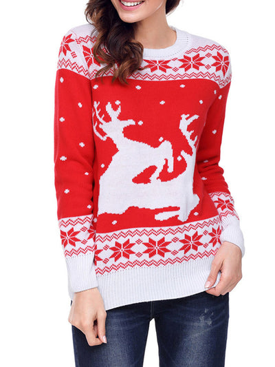 Christmas Costume Print Long Sleeve Knitted Sweater